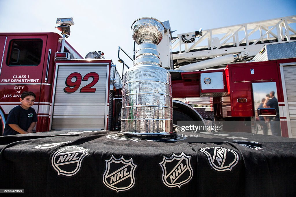 The Stanley Cup visits LAFD station 59 in Century City. The Los Angeles Kings Hockey team are the 2014 champions. Each LA Kings team player gets a day with the cup and decides where it goes. The Stanley Cup is the world's most iconic trophy and has travelled the world.