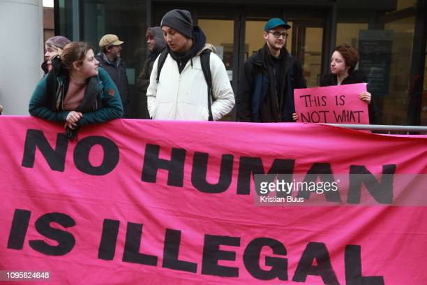 The Stansted 15 are sentenced at Chelmsford Crown court, 6th of February 2019, Chelmsford, United Kingdom. The defendants and supporters gather...