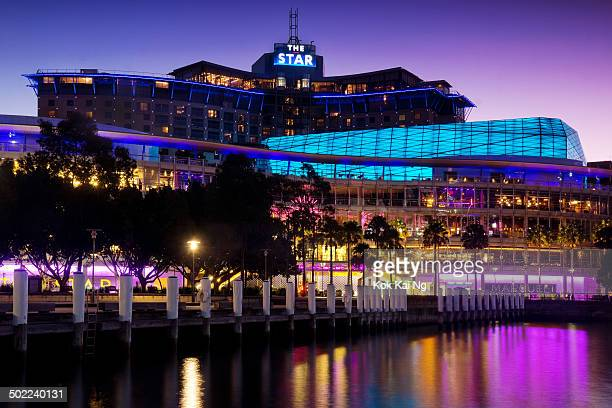 CONTENT] The Star a casino and entertainment complex in Pyrmont is illuminated at dusk