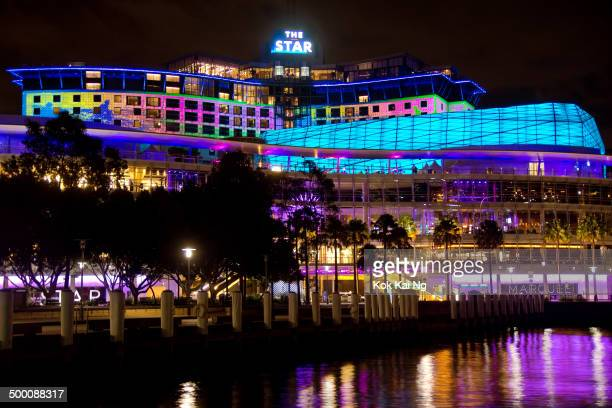 CONTENT] The Star casino and entertainment centre has colourful designs projected on its facade as part of the Vivid Sydney festival