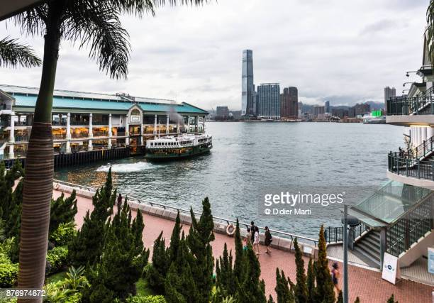 the star ferry terminal building in hong kong island - didier marti stock photos and pictures