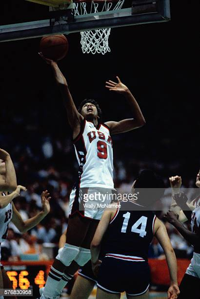 The star of the gold medal winning US women's basketball team Cheryl Miller drives for the basket and a score against Korea in the finals at the 1984...