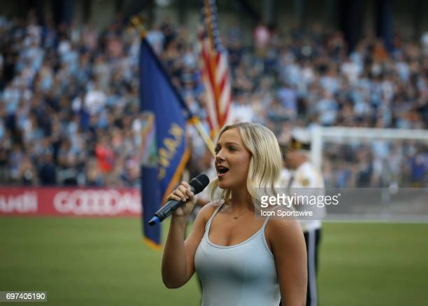 The Star Spangled Banner is performed before a US Open Cup match between Minnesota United FC and Sporting Kansas City on June 14 2017 at Children's...