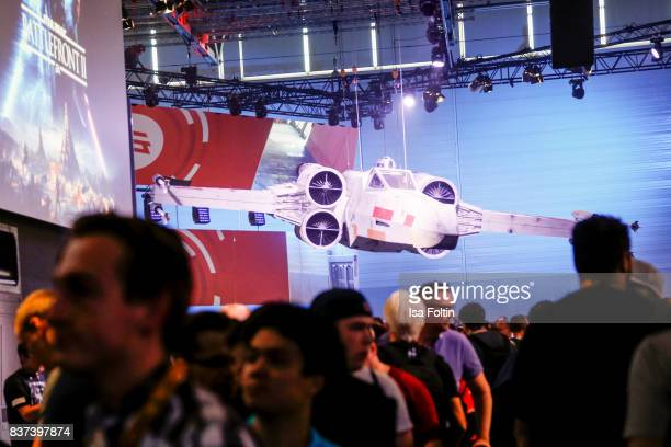 The Star Wars Battlefront II stand is seen at the Gamescom 2017 gaming trade fair on August 22 2017 in Cologne Germany Gamescom is the world's...