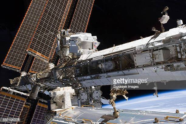 The starboard truss of the International Space Station.
