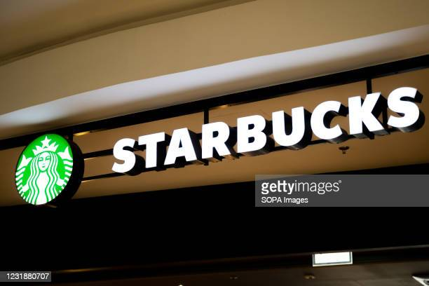The Starbucks Coffee logo seen on the store exposition in Gdansk.