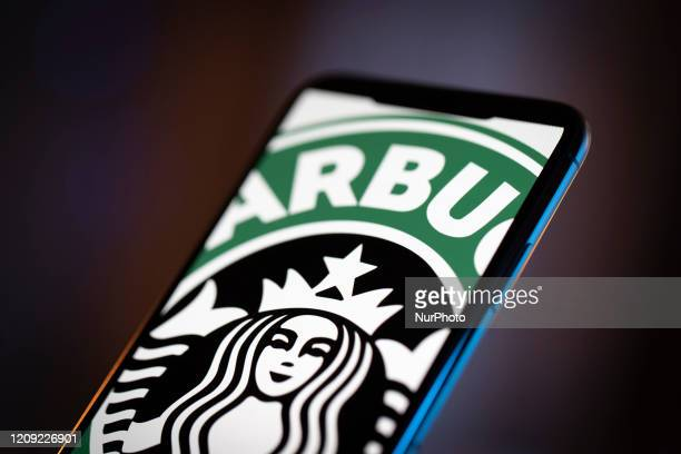 The Starbucks logo is seen on an iPhone 11 Pro Max in this illustration photo in Warsaw Poland on April 4 2020
