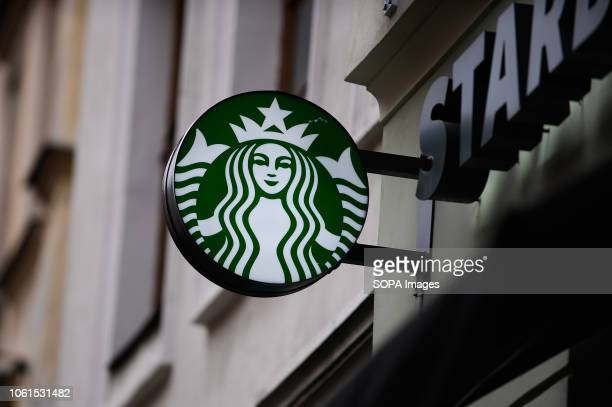 The Starbucks logo seen in Krakow