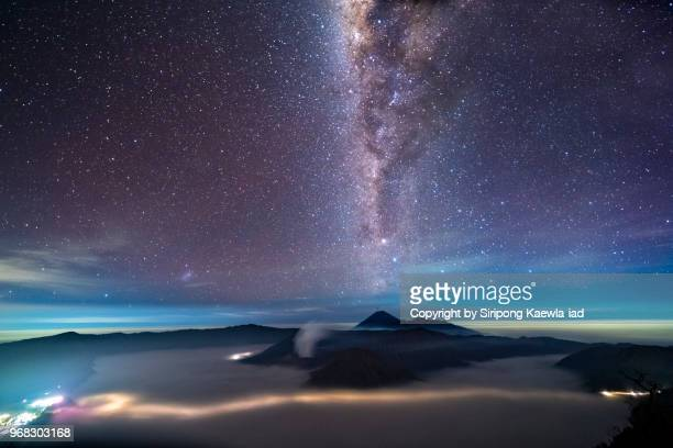 The starry night with the milky way over the Mt.Semeru, Mt.Bromo and Mt.Batok, East Java, Indonesia.