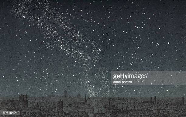 The starry sky above Paris On June 21 1875 Coloured Lithography