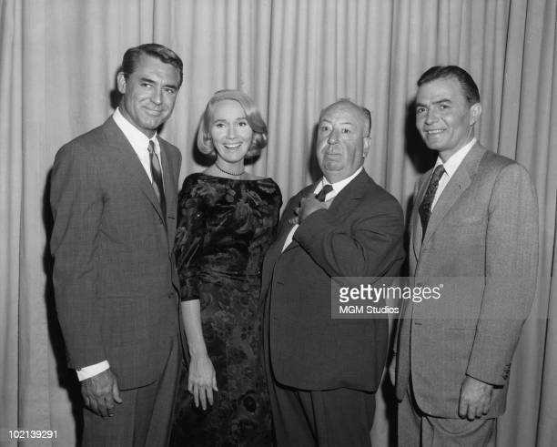 The stars and director of the film 'North By Northwest', 1959. From left to right, Cary Grant , Eva Marie Saint, director Alfred Hitchcock and James...