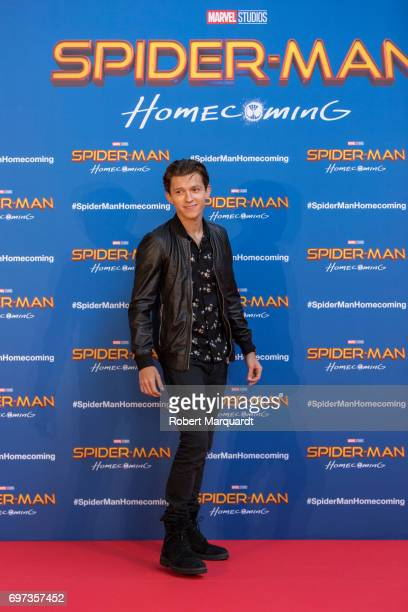 The stars and filmmakers of SPIDERMAN HOMECOMING actors Tom Holland Zendaya and director Jon Watts appear in Barcelona on the occasion of the...