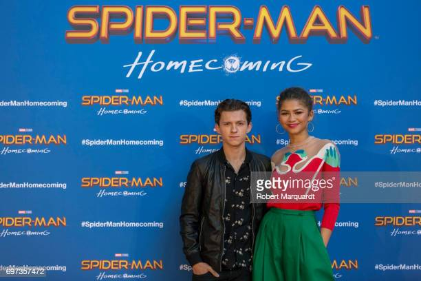 """The stars and filmmakers of """"SPIDER-MAN: HOMECOMING"""", actors Tom Holland, Zendaya and director Jon Watts appear in Barcelona on the occasion of the..."""
