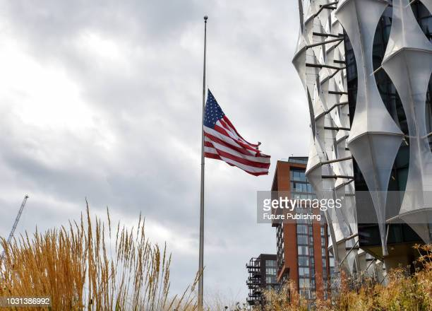 The Stars and Stripes flag flies at half mast outside the US Embassy to Commemorate the 9/11 terrorist attack on September 11 2018 in London England...