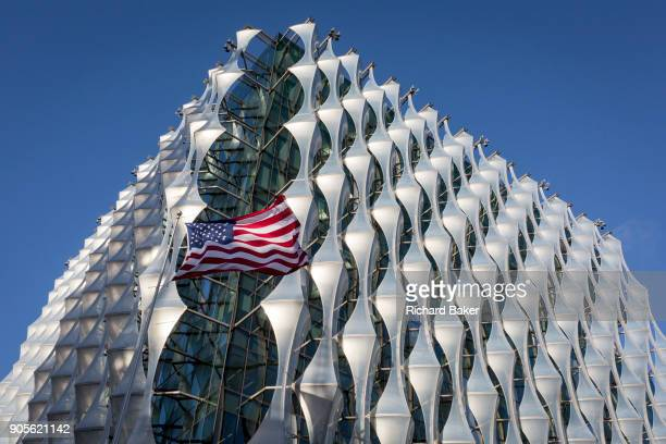 The Stars and Stripes flies over the US Embassy at Nine Elms in south London on 16th January 2018 in London England On the day when the consulate...