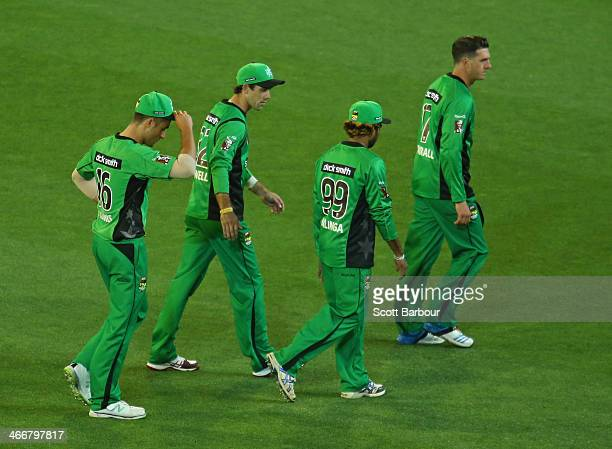 The Stars leave the field after losing the Big Bash League Semi Final match between the Melbourne Stars and the Hobart Hurricanes at Melbourne...