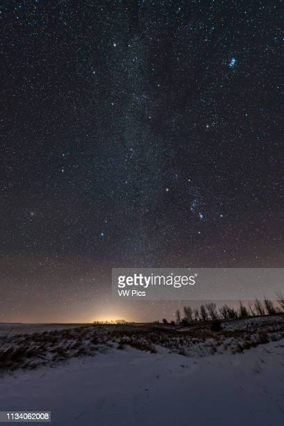 The stars Milky Way and constellations of the northern winter sky including the Winter Hexagon of bright stars and the Winter Triangle of Betelgeuse...