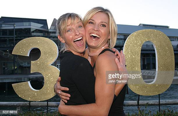 The stars of Australian hit medical drama 'All Saints' Tammy Macintosh and Alex Davies pose for a photo to celebrate the shows' 300th episode at...