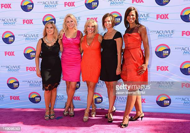 The stars of 'Dance Moms' arrive at the 2012 Teen Choice Awards at Gibson Amphitheatre on July 22 2012 in Universal City California