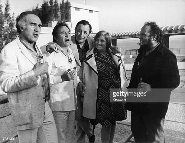 The stars of 'La Grande Bouffe' Michel Piccoli Ugo Tognazzi Philippe Noiret and Andrea Ferreol with the film's director Marco Ferreri at the Cannes...