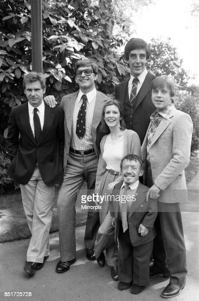 The stars of 'Star Wars: Episode V - The Empire Strikes Back' attend a photocall outside the Savoy Hotel, London, 19th May 1980. Left to right:...