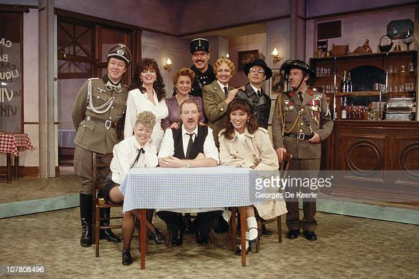 The stars of television's ''Allo 'Allo' circa 1989 From left to right Guy Siner Vicki Michelle Carmen Silvera Arthur Bostrom Kim Hartman Richard...