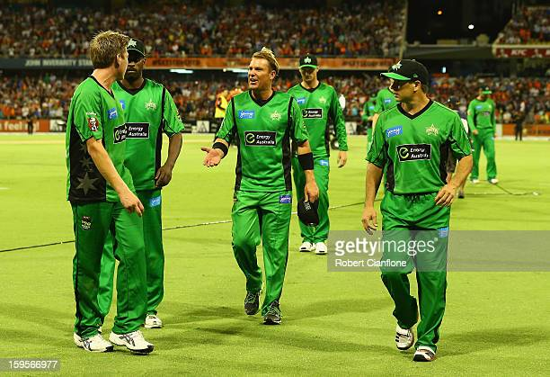 The Stars walk from the ground after they were defeated by the Scorchers during the Big Bash League semifinal match between the Perth Scorchers and...