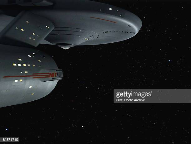 The Starship Enterprise flies through space in a scene from 'The Man Trap' the premiere episode of 'Star Trek' which aired on September 8 1966