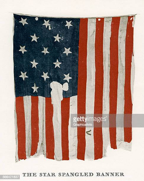 The StarSpangled Banner flag or the Great Garrison Flag the flag that flew over Fort McHenry in 1814 and inspired Francis Scott Key screen print 1926