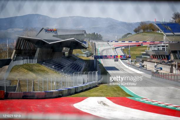 The start and finish line at the Red Bull Ring race track is photographed in Spielberg southern Austria on April 17 2020 The Formula 1 motorsports...