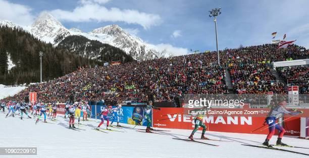 the start during the IBU Biathlon World Cup Men's and Women's Mass Start on January 27 2019 in Antholz Anterselva Italy