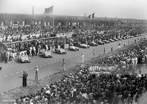 The start is about to be given and the riders are on standby to rush to their car during the 24 Hours of Le Mans June 14 1953