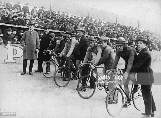 The start of a cycle race in Germany circa 1930