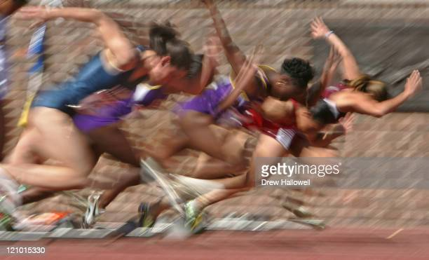The start of a heat in the College Women's 100m Dash Friday, April 28, 2006 during the 112th running of the Penn Relays Carnival at Franklin Field in...