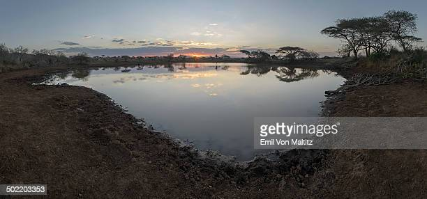 the start of a sunrise over a dam in mkuze. - wildlife reserve stock photos and pictures