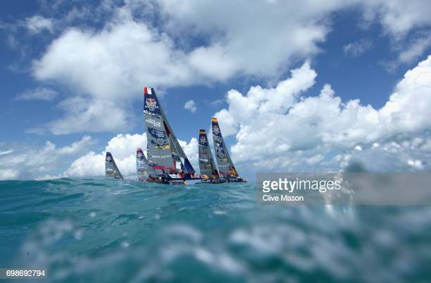 The start of race 1 during day 1 of the Red Bull Youth America's Cup Finals on June 20, 2017 in Hamilton, Bermuda.