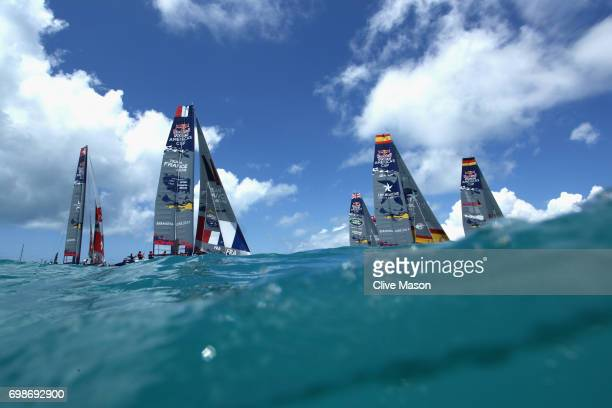 The start of race 1 during day 1 of the Red Bull Youth America's Cup Finals on June 20 2017 in Hamilton Bermuda