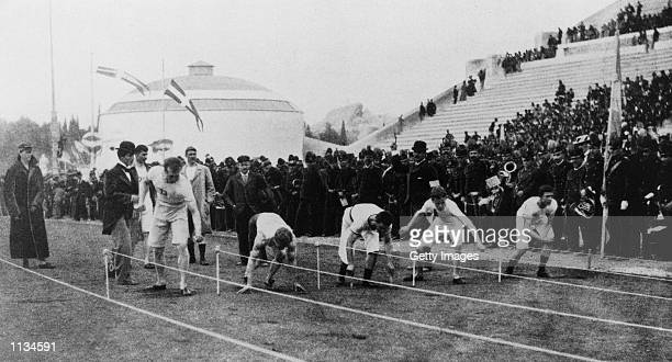 The start of the 100 meters sprint at the first Olympic Games of the Modern Era in Athens, Greece.