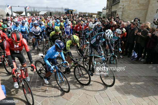 The start of the 138,5km 1st stage of the 77th Paris-Nice cycling race between Saint-Germain-en-Laye and Saint-Germain-en-Laye in the west suburb of...