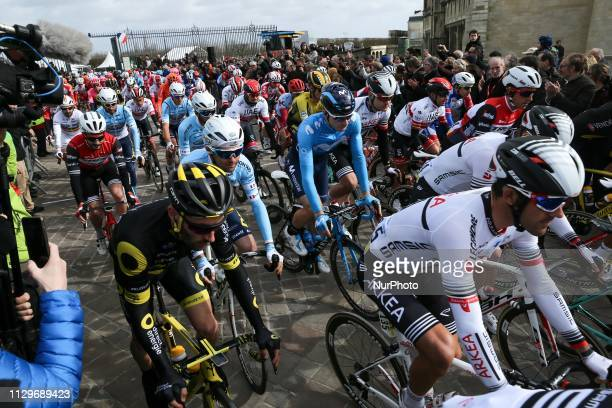 The start of the 1385km 1st stage of the 77th ParisNice cycling race between SaintGermainenLaye and SaintGermainenLaye in the west suburb of Paris...