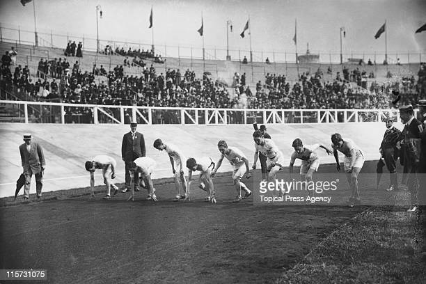 The start of the 1500 metres flat race during the 1908 Summer Olympics in London July 1908 The winner was Mel Sheppard of the USA