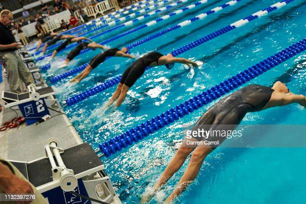 The start of the 200 Yard Backstroke during the Division I Women's Swimming Diving Championship held at the Lee Joe Jamail Texas Swimming Center on...