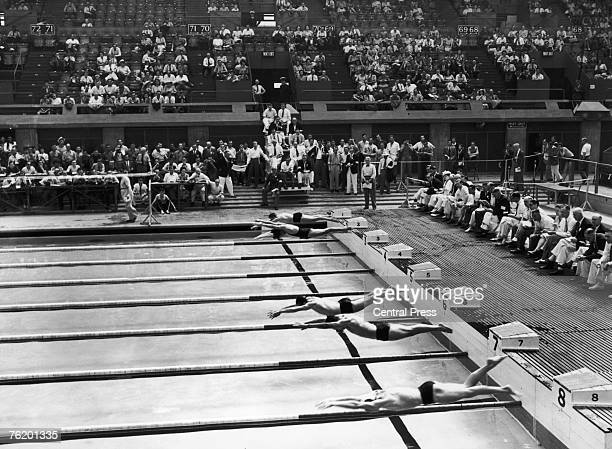 The start of the 5th heat of the Men's 100Metres Freestyle event at the Empire Pool Wembley during the London Olympics 30th July 1948 The winner was...