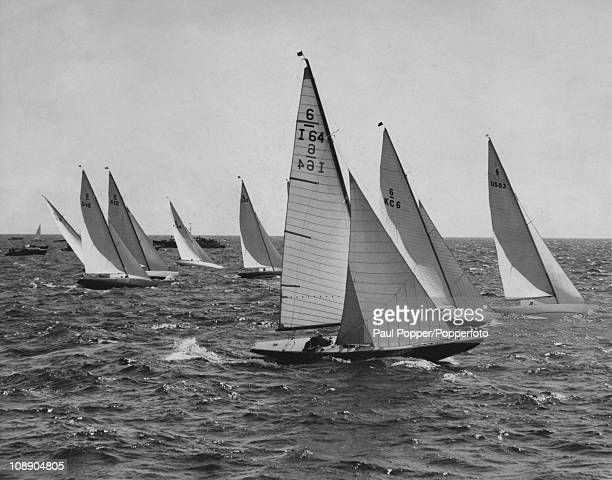 The start of the 6metre Rclass race at Harmaja near Helsinki during the yachting event at the Olympic Games July 1952 I64 is the Italian yacht...