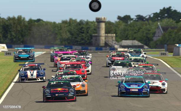 The start of the feature race during Round Three of the Porsche TAG Heuer Esports Supercup run at Donnington Park on May 23 2020 in Donnington United...