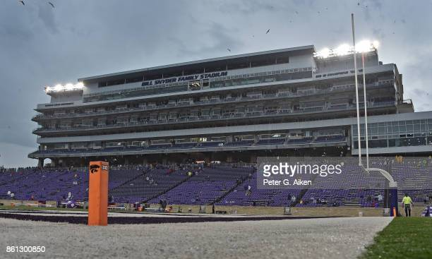 The start of the game between the Kansas State Wildcats and the TCU Horned Frogs is delayed due to thunderstorms in the area on October 14 2017 at...