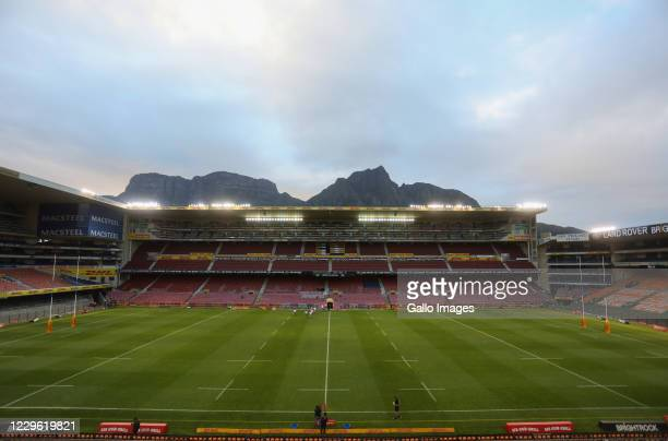 The start of the game with an empty stadium during the Super Rugby Unlocked match between DHL Stormers and Toyota Cheetahs at DHL Newlands on...