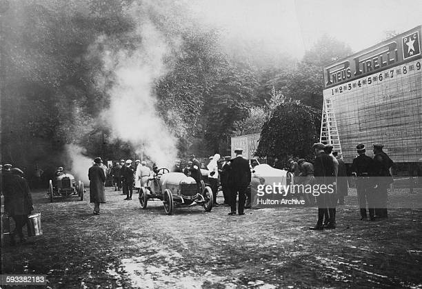 The start of the Grand Prix du Royal Automobile Club de Belgique Circuit Des Ardennes Motor Trial on 24 August 1913 on the Ardennes Circuit near Spa...