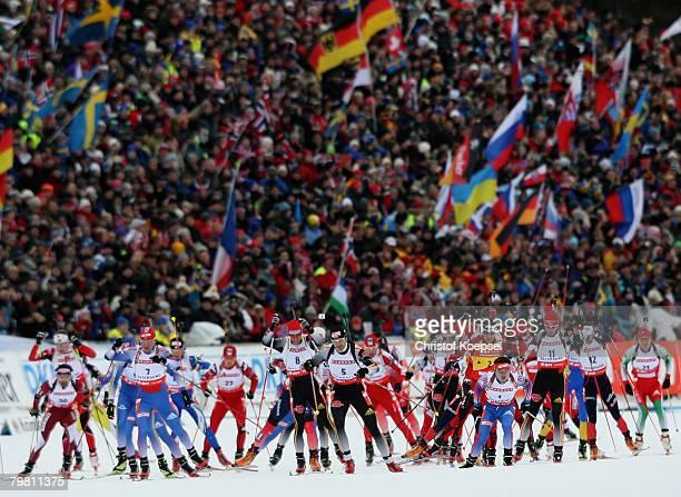 The start of the Mens 15 km mass start of the IBU Biathlon World Championships on February 17, 2008 in Ostersund, Sweden.