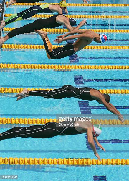 The start of the men's swimming event of the modern pentathlon on August 26 2004 during the Athens 2004 Summer Olympic Games at the Olympic Modern...